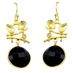 18.06cts natural black onyx topaz 925 silver 14k gold chandelier earrings p49786