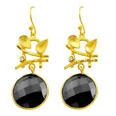 18.17cts natural black onyx topaz 925 silver 14k gold dangle earrings p75332