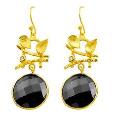 black onyx topaz 925 silver 14k gold dangle earrings p75334