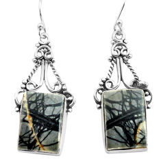 17.95cts natural black picasso jasper 925 sterling silver dangle earrings p72681