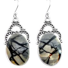 20.33cts natural black picasso jasper 925 sterling silver dangle earrings p72692