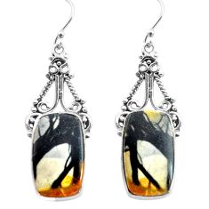 18.94cts natural black picasso jasper 925 sterling silver dangle earrings p72693