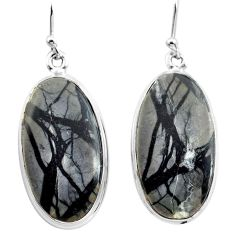 26.14cts natural black picasso jasper 925 sterling silver dangle earrings p72785