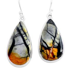 24.33cts natural black picasso jasper 925 sterling silver dangle earrings p72793