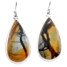 27.08cts natural black picasso jasper 925 sterling silver dangle earrings p72796