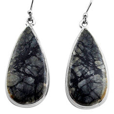 25.57cts natural black picasso jasper 925 sterling silver dangle earrings p88766