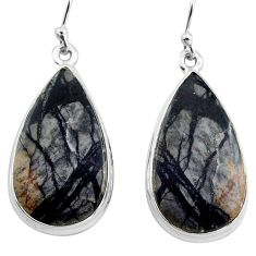 22.87cts natural black picasso jasper 925 sterling silver dangle earrings p88767