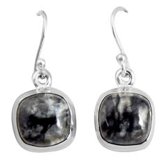 10.32cts natural black picasso jasper 925 sterling silver dangle earrings p89355