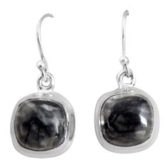 9.86cts natural black picasso jasper 925 sterling silver dangle earrings p89357