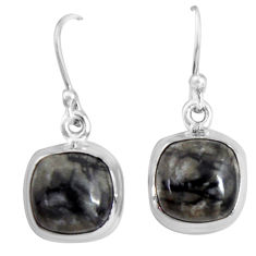 9.86cts natural black picasso jasper 925 sterling silver dangle earrings p89358