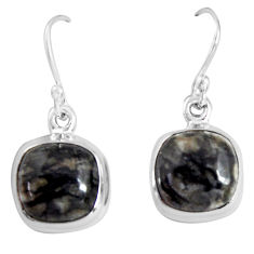 9.86cts natural black picasso jasper 925 sterling silver dangle earrings p89360