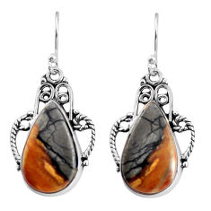 16.06cts natural black picasso jasper 925 sterling silver dangle earrings p91969