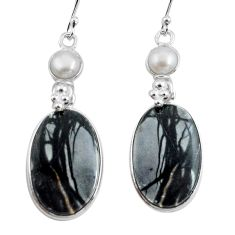 22.14cts natural black picasso jasper pearl 925 silver dangle earrings p78662