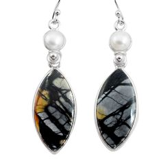 21.01cts natural black picasso jasper pearl 925 silver dangle earrings p78663