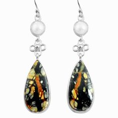 19.76cts natural black picasso jasper pearl 925 silver dangle earrings p78665