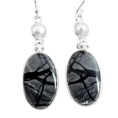 22.81cts natural black picasso jasper pearl 925 silver dangle earrings p78666