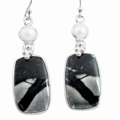 23.45cts natural black picasso jasper pearl 925 silver dangle earrings p78670
