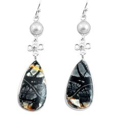 21.44cts natural black picasso jasper pearl 925 silver dangle earrings p78715