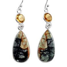 16.71cts natural black picasso jasper smoky topaz 925 silver earrings p78661