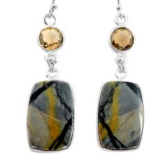 22.78cts natural black picasso jasper smoky topaz 925 silver earrings p78667