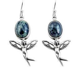 8.05cts natural black toad eye 925 silver angel wings fairy earrings p54895