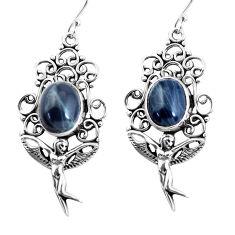 8.68cts natural black toad eye 925 silver angel wings fairy earrings p58395