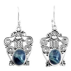 7.66cts natural black toad eye 925 silver hand of god hamsa earrings p52226