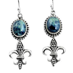 7.12cts natural black toad eye 925 sterling silver dangle earrings p54941