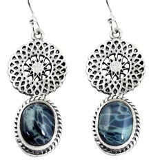 7.89cts natural black toad eye 925 sterling silver dangle earrings p55445