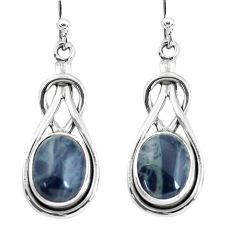 8.24cts natural black toad eye 925 sterling silver dangle earrings p58295