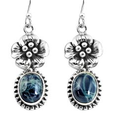 6.89cts natural black toad eye 925 sterling silver flower earrings p54921