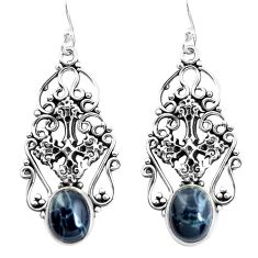 8.98cts natural black toad eye 925 sterling silver holy cross earrings p52271