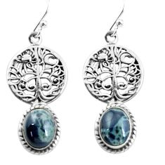 8.54cts natural black toad eye 925 sterling silver tree of life earrings p60806