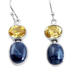 9.86cts natural black toad eye citrine 925 silver dangle earrings jewelry p58381