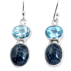 9.86cts natural black toad eye topaz 925 sterling silver dangle earrings p58362