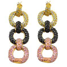 8.68cts natural black topaz kunzite (lab) silver 14k rose gold earrings c4503