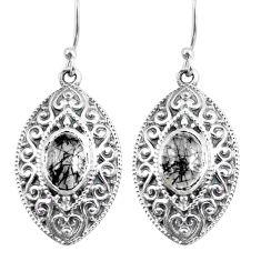 4.52cts natural black tourmaline rutile 925 silver dangle earrings p64973