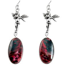 17.39cts natural bloodstone african 925 silver angel wings fairy earrings p91886
