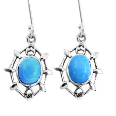 6.43cts natural blue angelite 925 sterling silver dangle earrings jewelry p58165