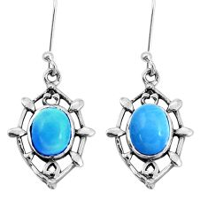 6.43cts natural blue angelite 925 sterling silver dangle earrings jewelry p58166