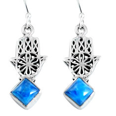 5.06cts natural blue apatite 925 silver hand of god hamsa earrings d31608