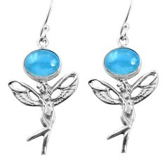 8.42cts natural blue aquamarine 925 silver angel wings fairy earrings d31529