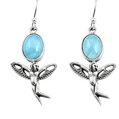 6.36cts natural blue aquamarine 925 silver angel wings fairy earrings p54887