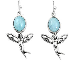 6.27cts natural blue aquamarine 925 silver angel wings fairy earrings p54893