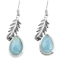 7.95cts natural blue aquamarine 925 silver dangle feather charm earrings p55485