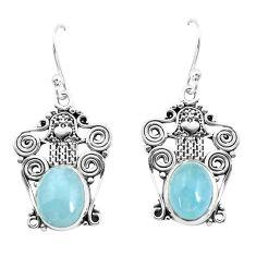 6.02cts natural blue aquamarine 925 silver hand of god hamsa earrings p52236