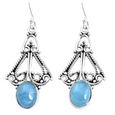 6.13cts natural blue aquamarine 925 sterling silver dangle earrings p52089