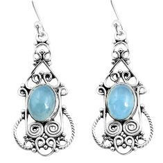 6.02cts natural blue aquamarine 925 sterling silver dangle earrings p52237