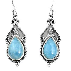 6.85cts natural blue aquamarine 925 sterling silver dangle earrings p52763