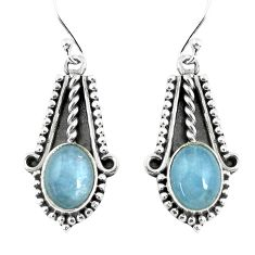 6.04cts natural blue aquamarine 925 sterling silver dangle earrings p52809